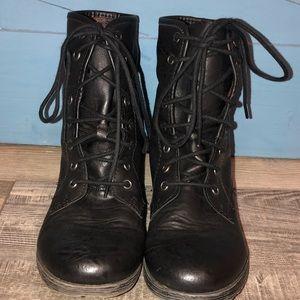 Rock & Candy Black Combat Boots Women's Size 8.5